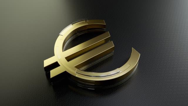 gold euro sign - simbolo dell'euro video stock e b–roll