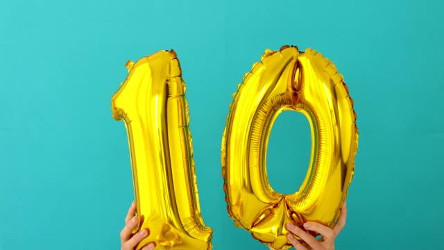 Gold foil number 10 ten celebration balloon