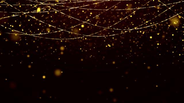 vídeos de stock, filmes e b-roll de fundo de partículas de glitter ouro. loop de fundo eventos - eventos de gala