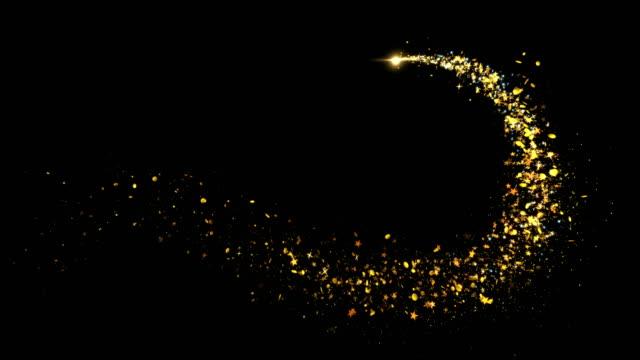 золотой блеск звезда пыль волшебная тропа сверкающие частицы на черном - блестящий стоковые видео и кадры b-roll