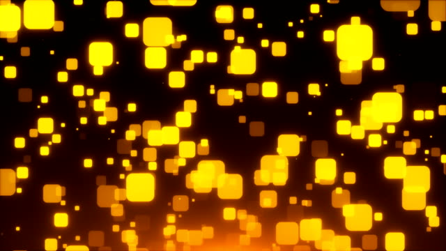 Gold glittering squares are in space, holiday 3d render background, golden explosion of confetti