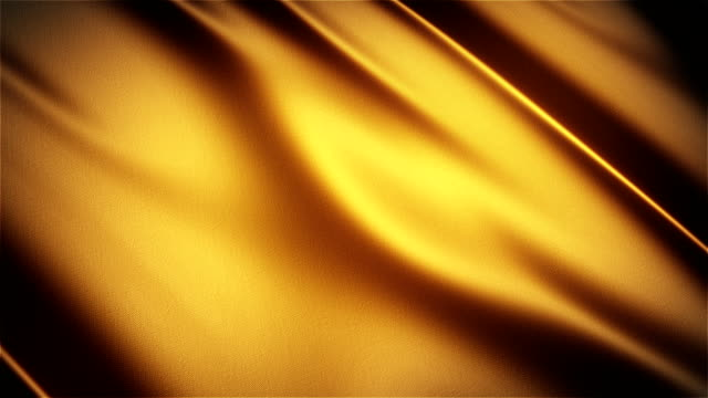 Gold glossy cloth satin realistic seamless loop waving animation