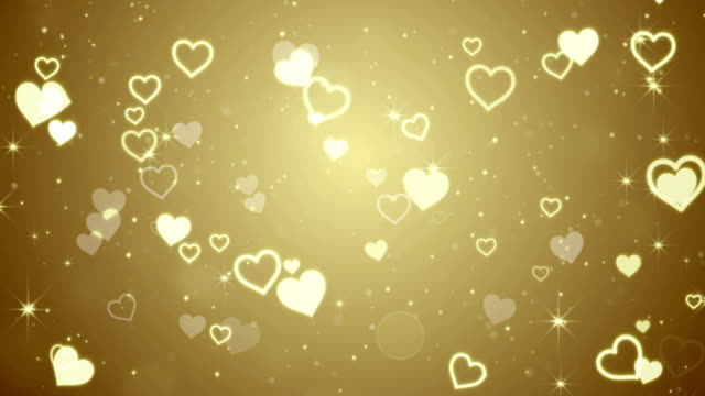 gold hearts and stars falling seamless loop video