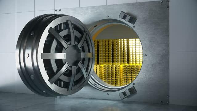 goldbarren auf sicherheit - 4k-auflösung - billionär stock-videos und b-roll-filmmaterial