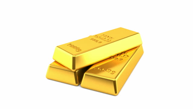 Gold ingot Gold ingot isolated on white background gold bars stock videos & royalty-free footage
