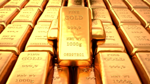Gold ingots in bank vault Gold ingots in bank vault. Loop 3d animation gold bars stock videos & royalty-free footage