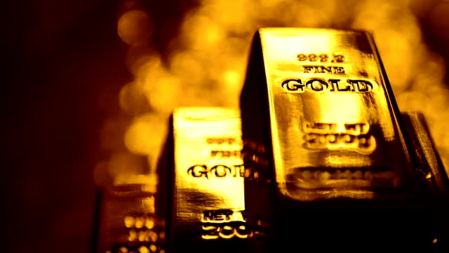 SERIES: Gold ingots Series of gold ingots. gold bars stock videos & royalty-free footage