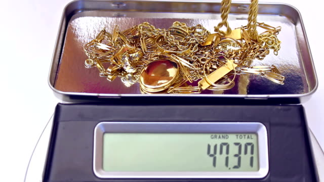 Gold jewelry on a digital scale video