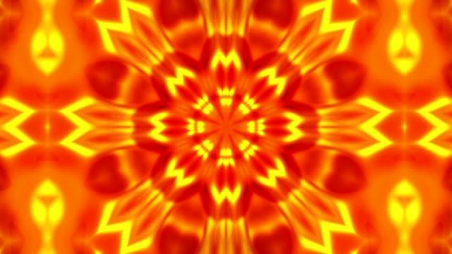 vídeos de stock e filmes b-roll de gold kaleidoscope flower patterns, abstract background animation 3d rendering - mosaicos flores