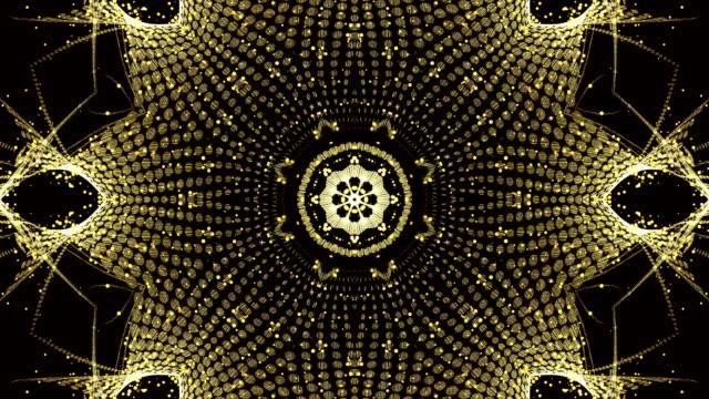 gold kaleidoscope loop - узор калейдоскоп стоковые видео и кадры b-roll