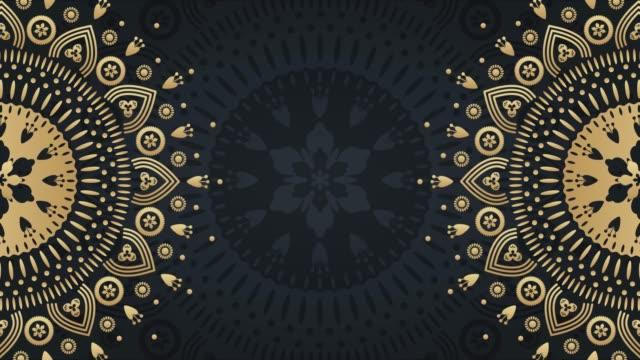 gold mandala ornament background. folk luxury animation. for yoga, design - мандала стоковые видео и кадры b-roll