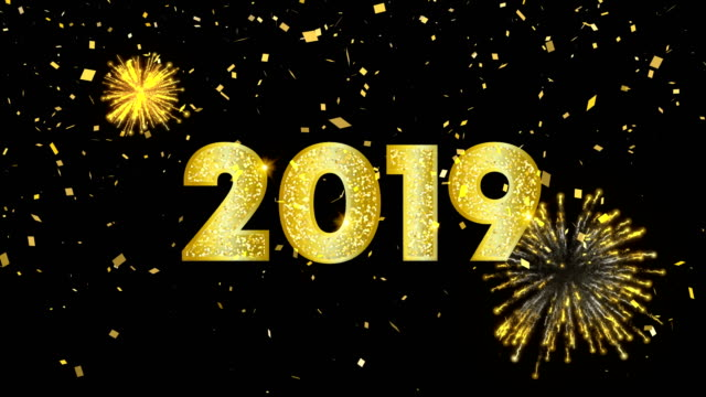 Gold New Year 2019 card animation on firework sky video
