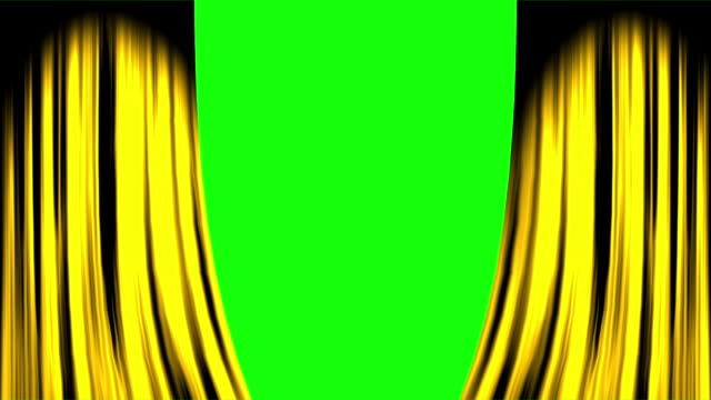 gold overlapped curtain opening both ends with green screen - sipario video stock e b–roll