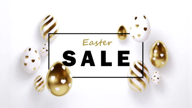 Gold Painted Easter Eggs With Easter Sale Text On White Background In 4K Resolution