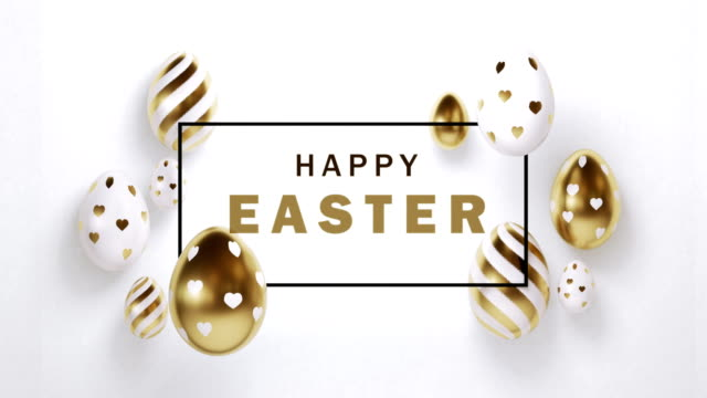 gold painted easter eggs with happy easter message on white background in 4k resolution - pasqua video stock e b–roll