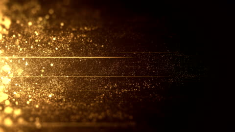 Gold Particles Moving Horizontally - Loop Beautiful background animation, perfectly usable for Christmas, New Year's Eve or any topic related to wealth or glamour. gold stock videos & royalty-free footage