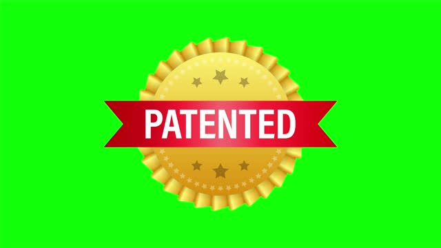Gold patented label on red ribbon on white background.  stock illustration.
