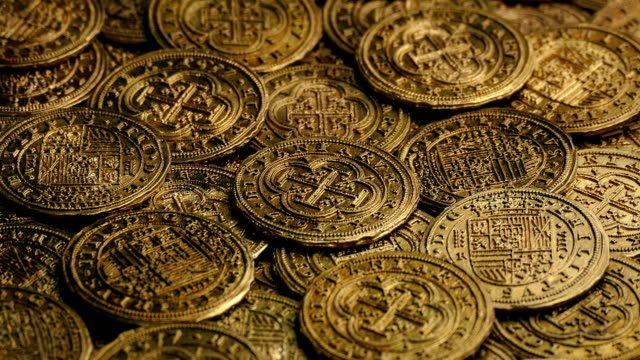 Gold Pirate Coins Rotating video
