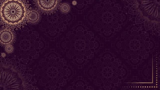 gold purple mandala background. folk luxury animation. for yoga, design. golden purple abstract flowers loop vp 003 - мандала стоковые видео и кадры b-roll