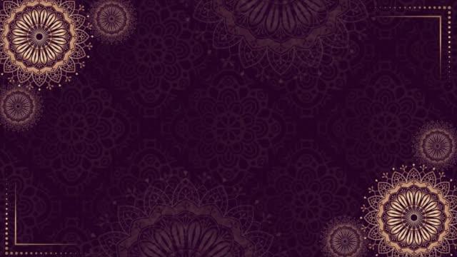 vídeos y material grabado en eventos de stock de fondo mandala púrpura dorado. animación de lujo popular. para yoga, diseño. oro púrpura flores abstractas bucle vp 004 - ornamentado