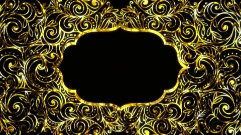 vídeos y material grabado en eventos de stock de gold ramadan kareem marco de fondo en bucle con espacio para su texto - ornamentado