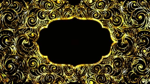 altın ramazan kareem çerçeve arka plan metin alanı ile ilmekledi - süslü püslü stok videoları ve detay görüntü çekimi