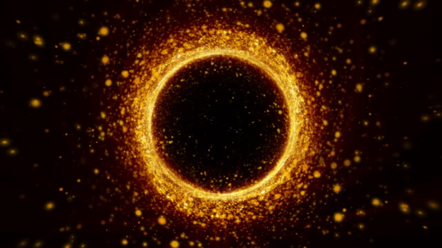 Gold Ring Futuristic Rotation Particle Floating Glittering 4K Animation On Black Background