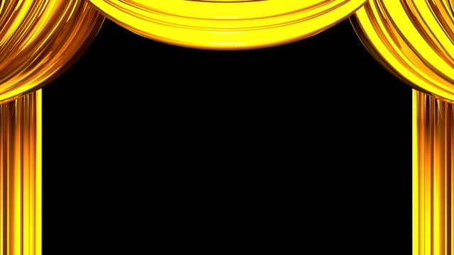 Gouden fase gordijn op zwarte achtergrond video