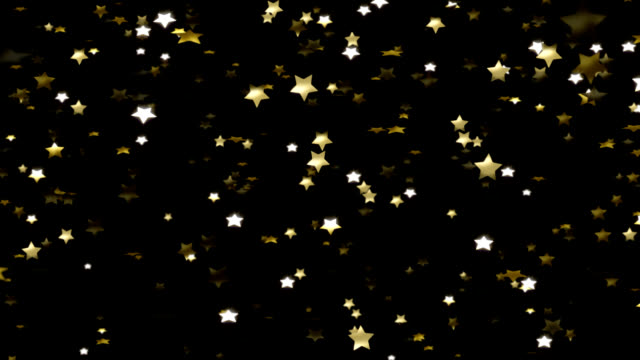 Gold Stars Falling Glittering Gold Stars Falling.  This clip has a slight depth of field blur.  Matte & (Premultiplied) Fill included. performer stock videos & royalty-free footage