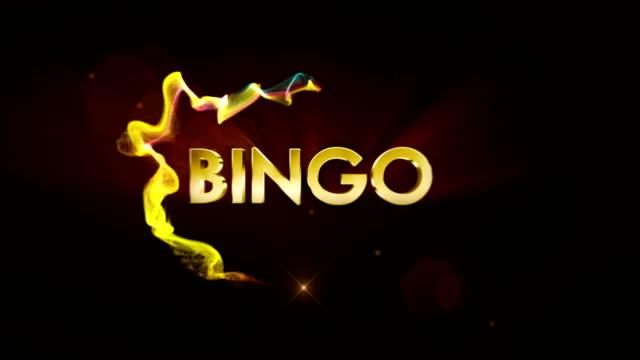 Animación de renderizado de texto oro BINGO, Fondo - vídeo