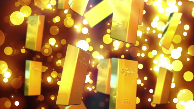 4K Gold Gold Colored, Gold, Wealth, Ingot gold bars stock videos & royalty-free footage