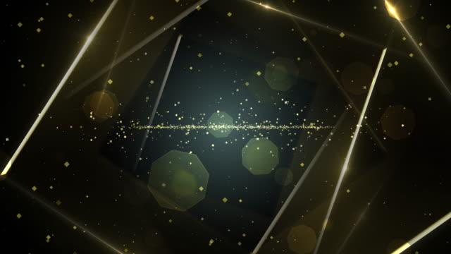 ネオンラインライトが付いている金の仮想抽象的な背景スペーストンネル。 - 黒色点の映像素材/bロール