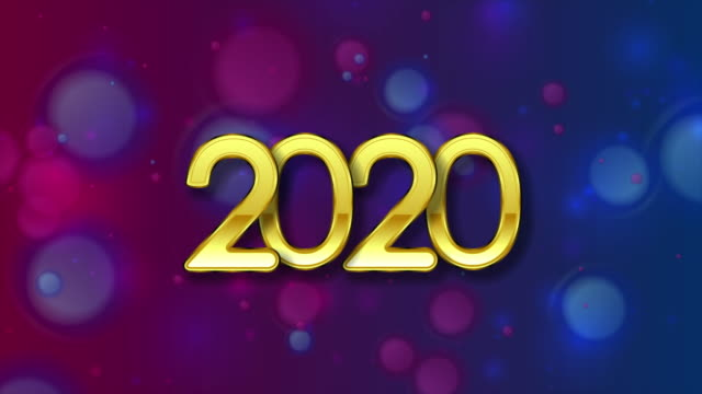 golden 2020 lettering on blue purple christmas bokeh motion background - bokeh stock videos & royalty-free footage
