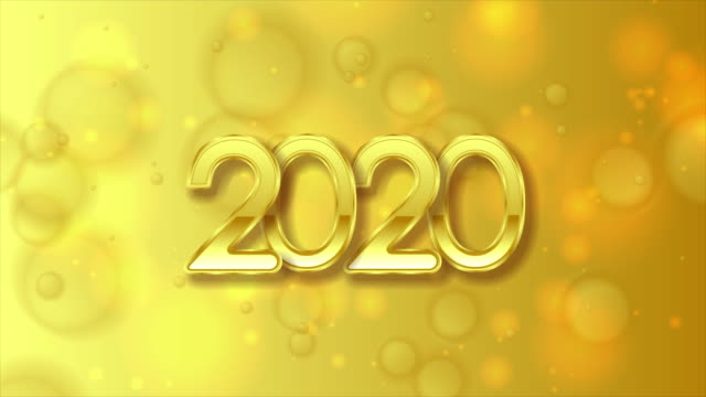 golden 2020 lettering on bright yellow christmas bokeh motion background - bokeh stock videos & royalty-free footage