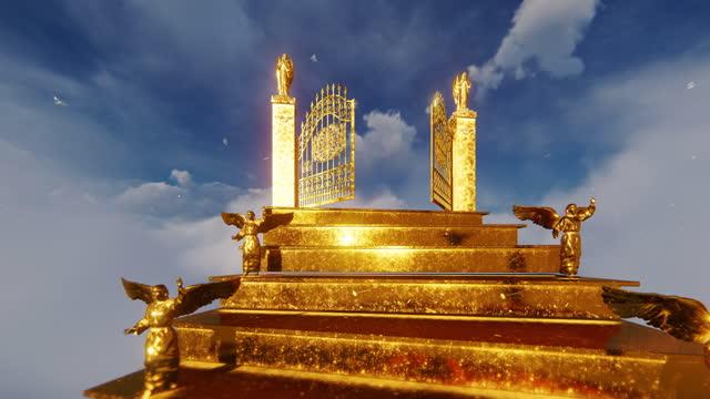 golden angels på trappor mot heaven gates öppning och ljusa duvor, 4k - himlen bildbanksvideor och videomaterial från bakom kulisserna