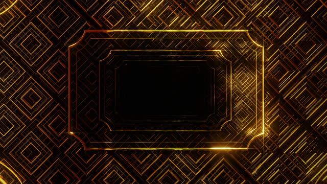 Golden anniversary card in art deco style Golden anniversary card in art deco style is motion footage for festival films and cinematic in celebrate scene. Also good background for scene and titles, logos. art deco architecture stock videos & royalty-free footage