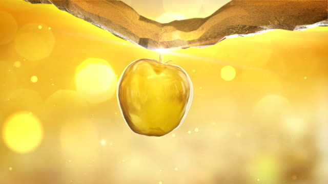 Golden, artificial apple-tree close up. Apple growing and falling of the branch Apple-tree animation. Golden apple falling on the ground and disintegrate. Wealth metaphor branch plant part stock videos & royalty-free footage