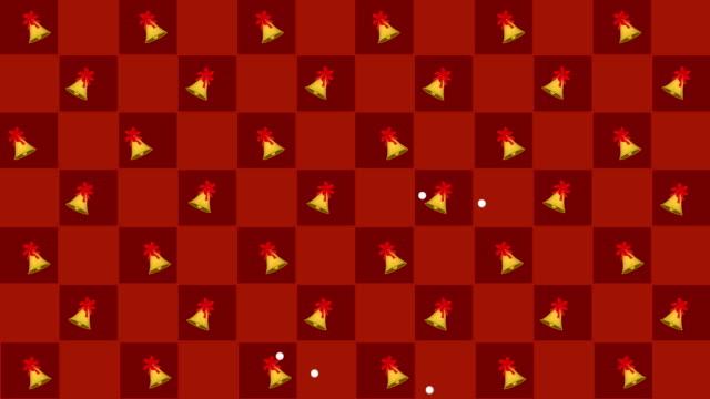 vídeos y material grabado en eventos de stock de campanas de oro swing en tablero de ajedrez rojo y naranja - imagen en bucle