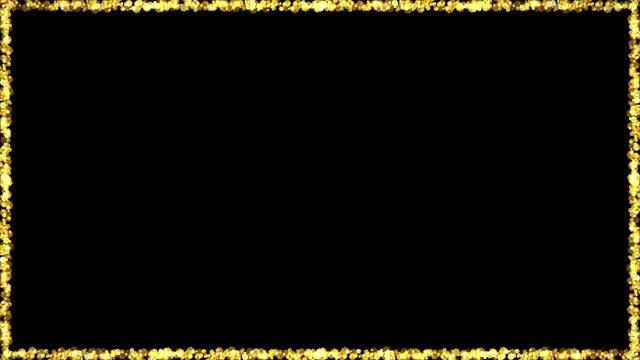 골든 보케 라이트 입자 프레임 애니메이션 루프 - 가장자리 스톡 비디오 및 b-롤 화면