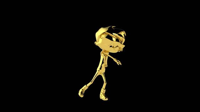 Golden boy dancing twist, seamless loop, against black