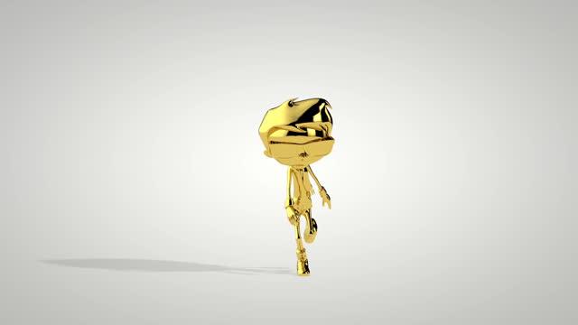 Golden boy dancing twist seamless loop, white studio