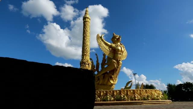 Golden carving art landmark in Thailand.