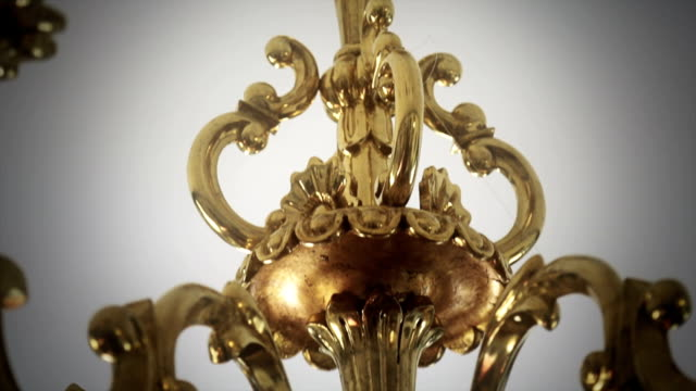 Golden chandelier Chandelier luxury made of gold victorian architecture stock videos & royalty-free footage
