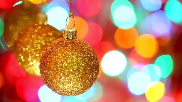 Golden Christmas balls,dolly shot video