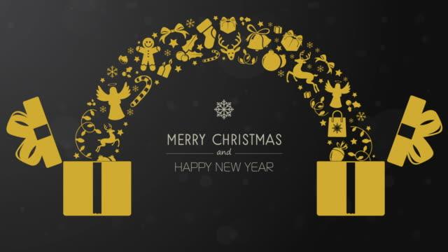黄金のアイコンとゴールデンクリスマスギフトボックスアニメーション - アイコン プレゼント点の映像素材/bロール