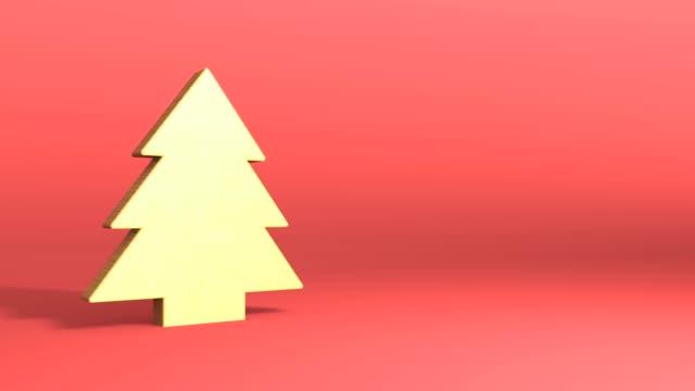 Golden christmas tree symbol video