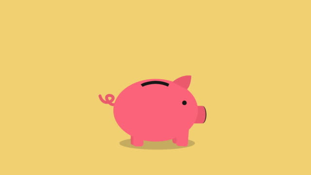 golden coins falling into a cute pink Piggy Bank Loop with space for your text. nice animation of saving money concept, passive income concept. putting coins in pink piggy bank. piggy bank gets filled. piggy bank stock videos & royalty-free footage