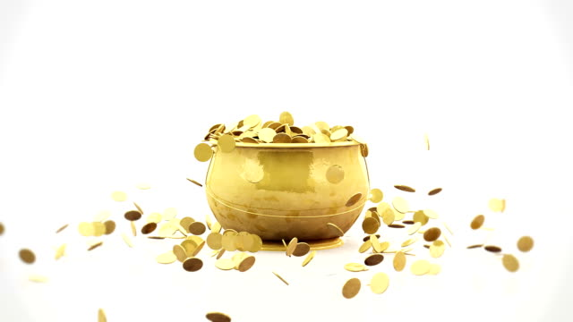Golden coins falling into a golden pot Golden coins falling into a golden pot cooking pan stock videos & royalty-free footage