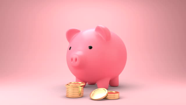 Golden coins falling into a piggy bank. Pink piggy bank Get bigger when receiving coins and Gold coins appears a lot. 3d animation. Golden coins falling into a piggy bank. Pink piggy bank Get bigger when receiving coins and Gold coins appears a lot.Money saving concept. 3d animation. piggy bank stock videos & royalty-free footage