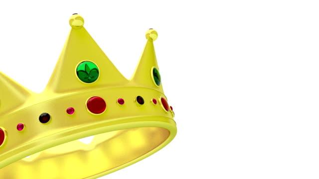 Golden crown on white video